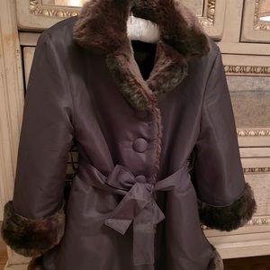 Helena  Girls' Faux Fur-Trimmed Reversible Coat